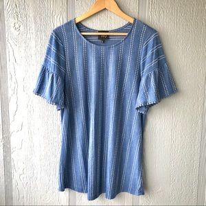 W5 (Anthro) Blue with White Striped Dot Top